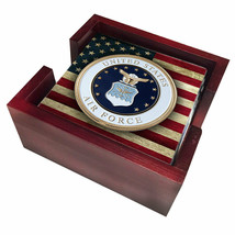 United States Air Force Emblem American Flag Tile Coasters with Choice o... - $29.95