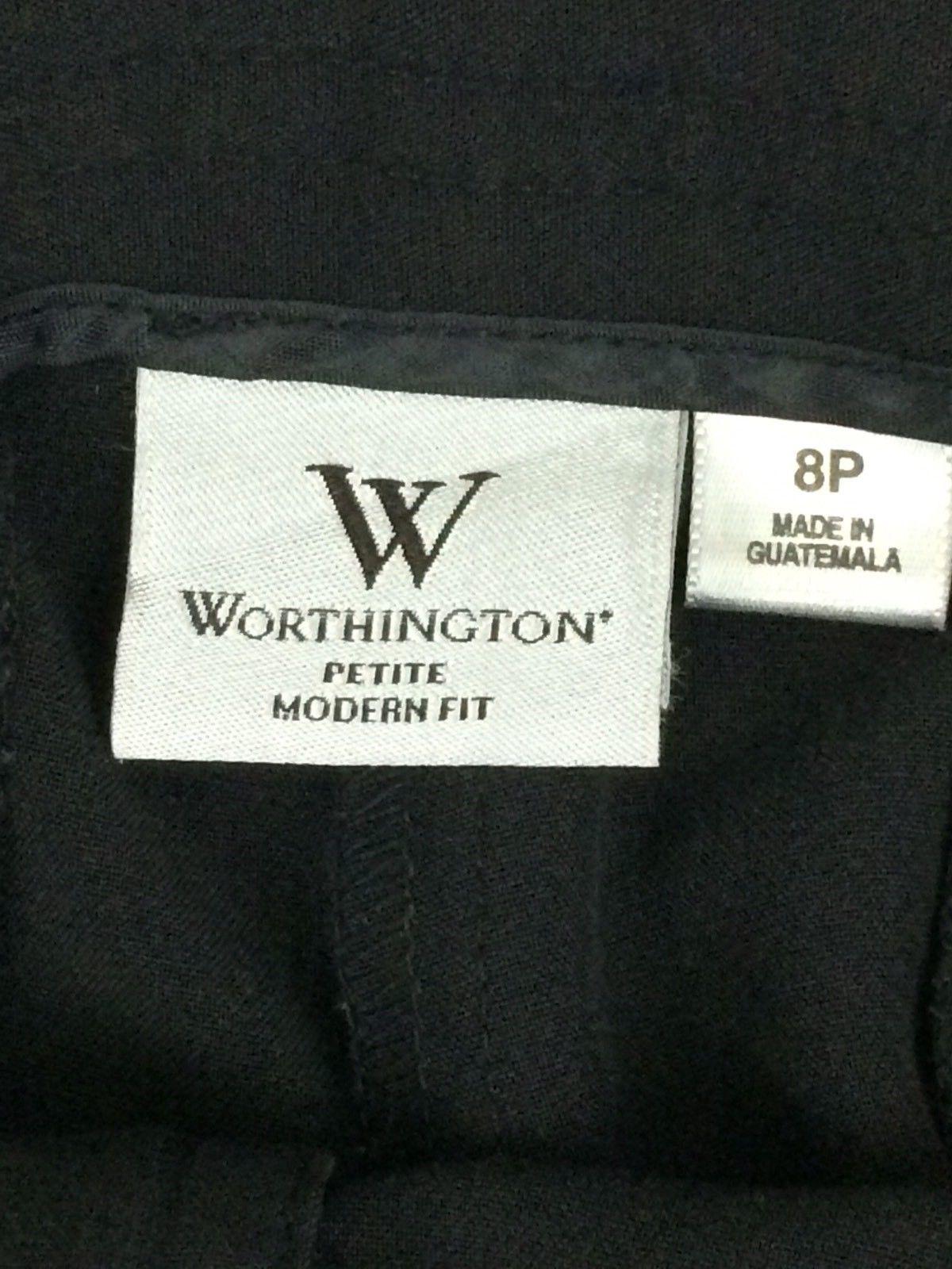 ... Worthington Modern Fit Petite Capri Pants Belted Stretch Crop Black 8P Career