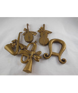 "Musical Instrument shaped Golden 5 pcs Christmas Ornaments 4.5"" X 5"" ola... - $6.92"