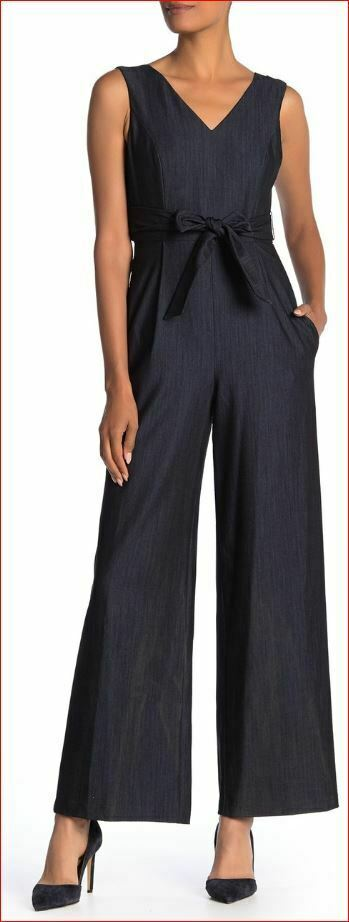 Nuevo Calvin Klein Mujer Mono Mono Pantalones Top CD9D11MT Azul Marino 4 Msrp