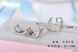 Fashion 925 Silver,Gold Hoop Earrings for Men Jewelry Gift A Pair/set - $10.65
