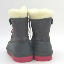Toddler Girls Cat & Jack Valmai Grey Leather Magenta Thermolite Winter Boots NEW image 3