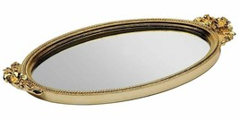 Gold Antique Rose Mirror Perfume Tray - $29.69