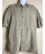 5.11 Tactical Men Size L Olive Check Shirt Concealed Snaps Buttons Double Layer - $23.76