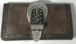 Silver & Brown Big Rhinestone Belt Buckle Wallet Holder Clutch Gift Faux... - $35.74