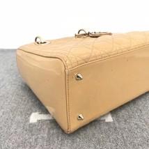 Authentic Christian Dior Lady Dior Medium Beige Patent Shoulder Tote Bag GHW image 6