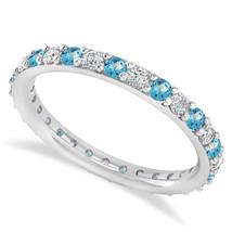 0.87 Ct Round Real Diamond & Blue Topaz 14K Gold Full Eternity Wedding B... - €369,18 EUR