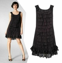 $358 Juicy Couture Cascading Ruffles Black Silk Crepe Sleeveless Dress sz 4 - $29.70