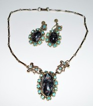 VTG Gold Tone Blue Rhinestone Marbled Lucite Cabochon Necklace Earring Set - $39.60