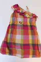 K4659 Girls GYMBOREE Batik Summer orange/pink PLAID SUNDRESS, ruffle sho... - $11.65