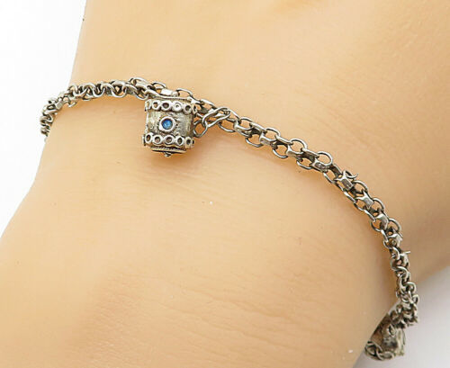 925 Sterling Silver - Vintage Blue Enamel Detail Chain Bracelet - B5504