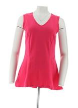 Kathleen Kirkwood Cotton Spandex V-Neck Swing Cami Hot Pink S NEW A271395 - $25.72
