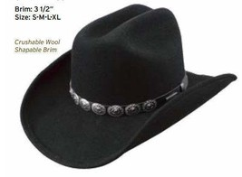 Stetson Water Repellent Crushable Hat Cattleman Crown MIDEN Black Color ... - $63.36