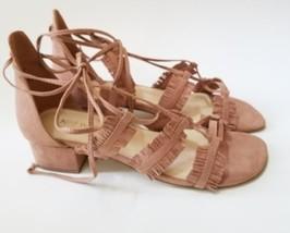 Nine West Lace-Up Block Heel Sandals Vegan Suede Fringe 9M - €23,01 EUR