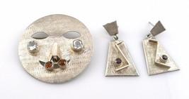 Vintage 1960s 70s Handmade Ecuador Sterling PIN Pendant NECKLACE & EARRI... - $195.00