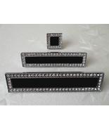 "3.75"" Black Glass Dresser Pull Crystal Dresser Pulls Handles Knobs Silver 96 mm - $13.50"