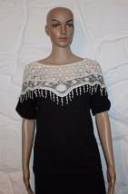 Black & White Lace Neck ZANZEA Stretch Tassel Casual T-Shirt Top Blouse Size M - $9.86