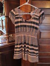 America Rag Cie Ladies Pink & Black Striped Cap Sleeved Mini Dress, Size S - $3.72