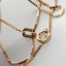 18K ROSE GOLD CHAIN MINI 0.8 MM VENETIAN SQUARE LINK 15.75 INCHES MADE IN ITALY  image 3