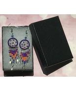 Earrings, Purple Dream Catcher, Dangle, Native American, Fish hook ear w... - $9.79