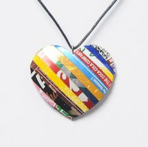 Necklace, heart made of soda can - Free shippin... - $22.00