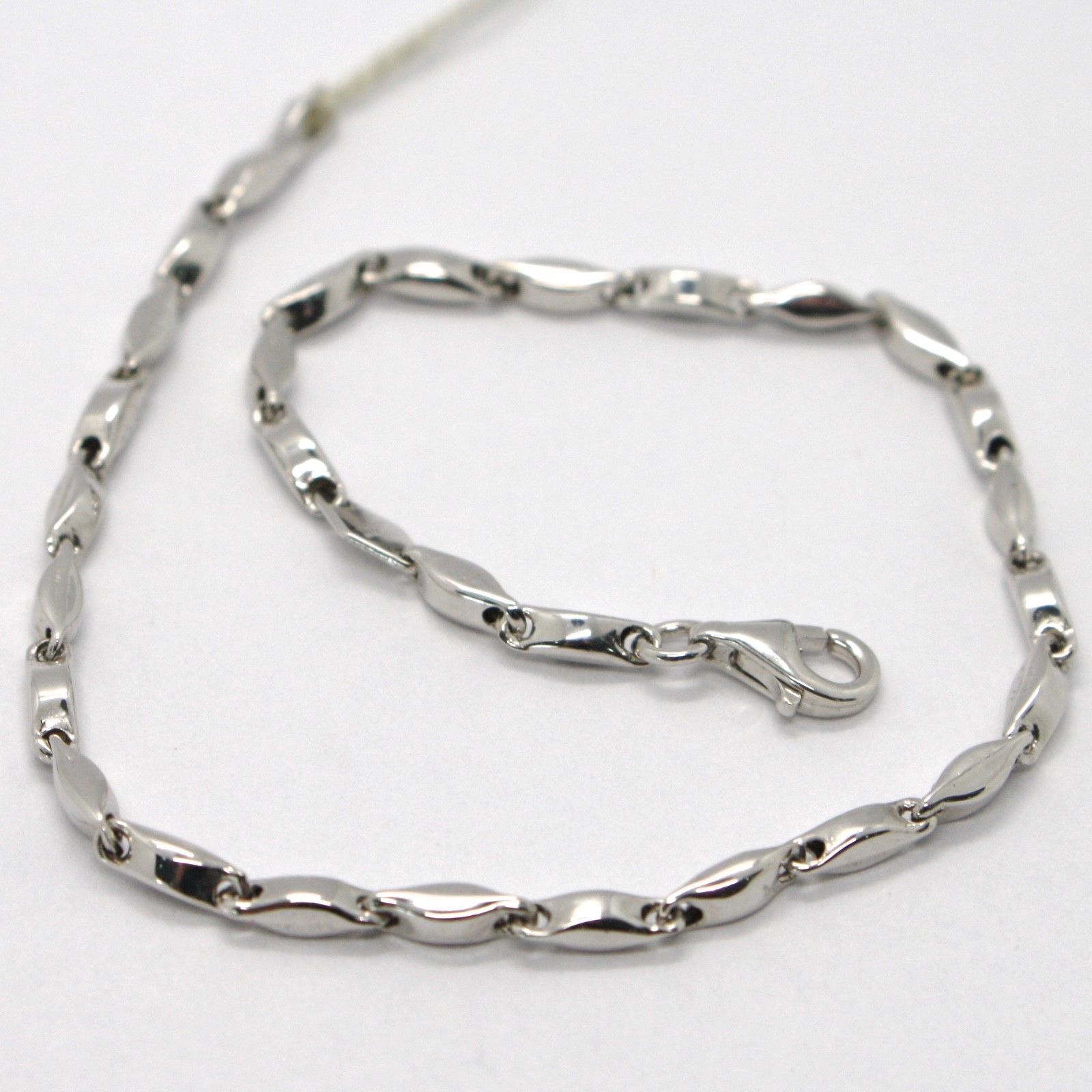 18K WHITE GOLD BRACELET ALTERNATE TUBE ONDULATE OVAL LINK, MADE IN ITALY
