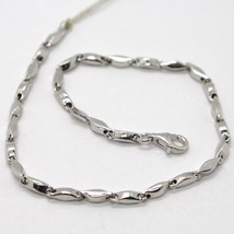 18K White Gold Bracelet Alternate Tube Ondulate Oval Link, Made In Italy - $425.60