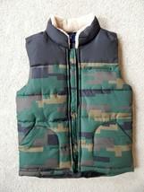 Gap Kids Boys Puffer Vest Olive Camouflage Water Resistant Zip Mock Neck... - $24.00