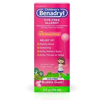 Children's Benadryl Dye-Free Allergy Liquid (4 Fl. Oz|Liquid, Bubble Gum) - $12.83