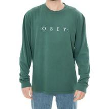 Men's T-SHIRT Obey Novel Obey Pigment Ls Tee 166731578.DUSTYGREEN Long Sleeve Te - $42.40