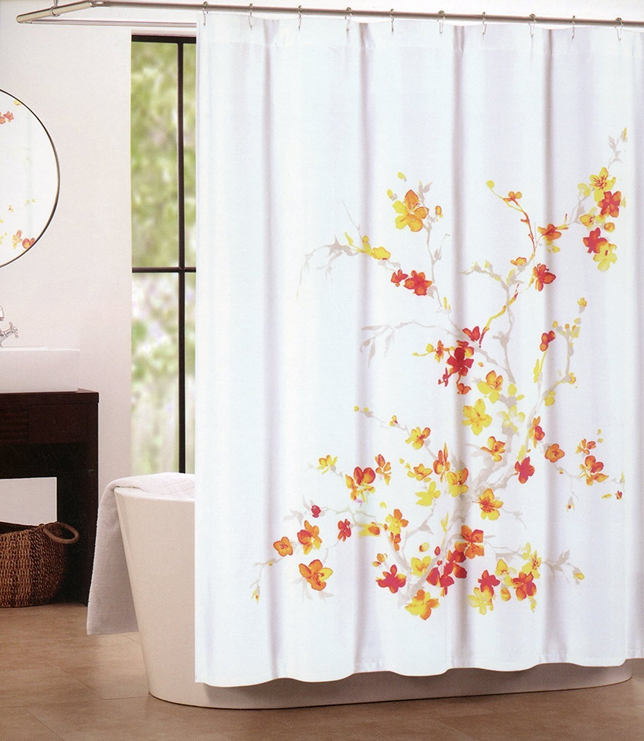 Tahari Printemps Orange Red Yellow Beige Floral on White Shower Curtain
