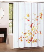 Tahari Printemps Orange Red Yellow Beige Floral on White Shower Curtain - $32.00