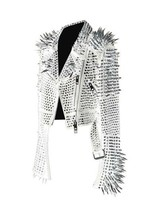 New Full White Punk Silver Long Spiked Studded Brando Cowhide Leather Ja... - $299.99+