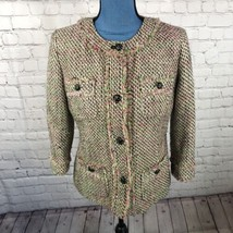 Talbots Women's Tweed Blazer 3/4 Sleeve Green White Pink Lined  Size 6 - $19.24