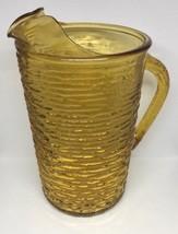 Vintage Anchor Hocking Honey Gold Soreno Glass Pitcher 1960's Ripple Glass - $18.70