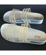 H2K AMANDA Silver Double Rhinestones Sparkle Slides Flip Flops Sandals B... - $24.99