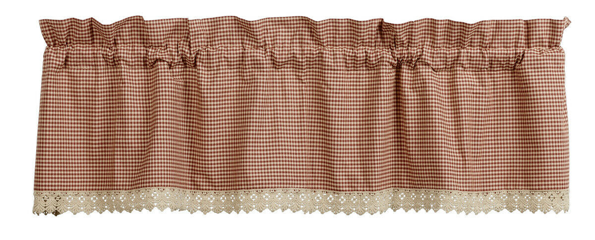 Primary image for country farmhouse Ava Wine burgundy cream plaid w lace trim VALANCE curtain