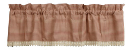country farmhouse Ava Wine burgundy cream plaid w lace trim VALANCE curtain - $29.95
