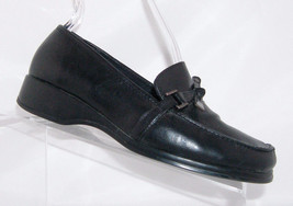 Liz Claiborne 'Thrifty' black man made square toe knotted loafer heel shoe 7M - $16.15