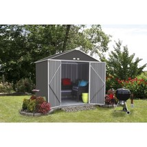 Storage Shed Galvanized Steel High Gable 8 x 7 Charcoal Cream Trim Outdo... - $514.90
