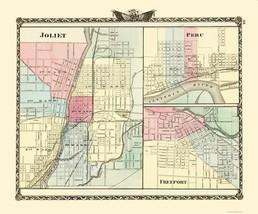 Joliet, Peru, Freeport Illinois - Warner 1870 - 23 x 27.68 - $36.95+