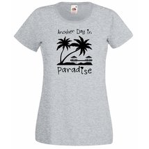 Womens T-Shirt Sunset Beach Palms & Bungalows, Quote Another Day Paradis... - $24.74