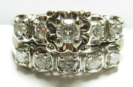 Vintage 14K White Gold Diamond Engagement Wedding Ring Set Sz 8.75 AM-G 1.55 tcw - $2,599.99