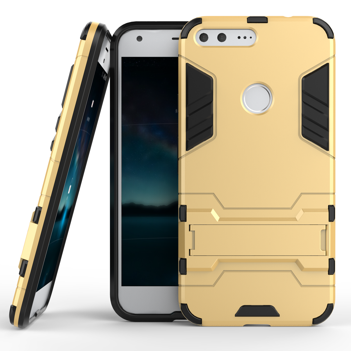 Mor kickstand tough dual layer protective case for google pixel 5 0inch gold p201610311524171380
