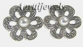 Victorian 0.72ct Rose Cut Diamond Pearl Wedding Earrings Vintage Jewelry... - $376.12