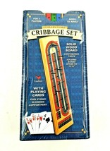 Collectors Cribbage Set Solid Wood Folding Board w/ Cards Pegs & Tin Tra... - $14.80