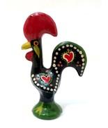 Vintage Cast Metal Rooster Figurine Hand Painted Heart Folk Art 2.75 inc... - $24.74