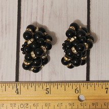 vintage large black lucite beaded rhinestone clip earrings oversize - $14.84