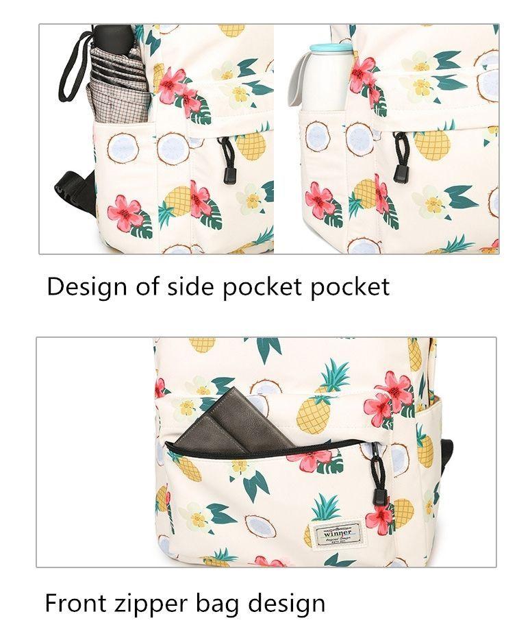 Women Waterproof Backpack Student Book Bag Girl Cute Pineapple Floral Big Lovely