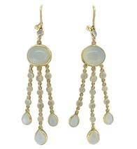 14k Gold Genuine Natural Moonstone Large Drop Earrings 19 Carats (#J4171) - $495.00